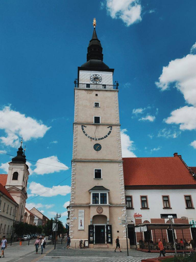 Trnava bell tower under blue sky